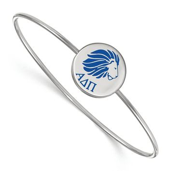 Sterling Silver Alpha Delta Pi Enamel Bangle - 6 in.
