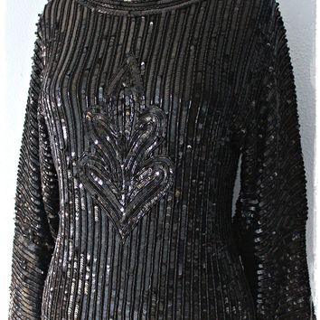 Vintage 1980s Black Beaded Medallion-Front + Sequined Silk Blouse
