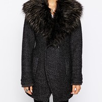 New Look Faux Fur Collar Coat
