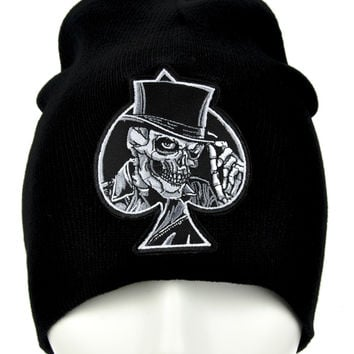 Black Spade Skull Top Hat Beanie Alternative Clothing Knit Cap Biker Death