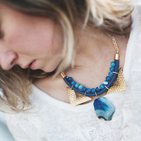 JeansLover Statement Blue Agate Necklace by Pardes