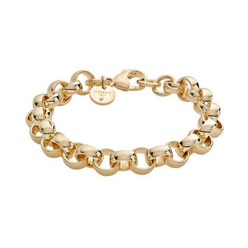 Elegante 18k Gold Over Brass Cubic Zirconia Rolo Chain Bracelet (Yellow)