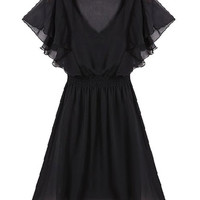 Black V-Neck Ruffled Sleeve Chiffon Mini Dress
