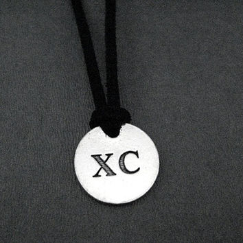 XC Round Pendant Self Tie Necklace - Pewter Charm on 3 Feet of Self Tie Micro Fiber Suede - Choose Color - XC Cross Country Necklace