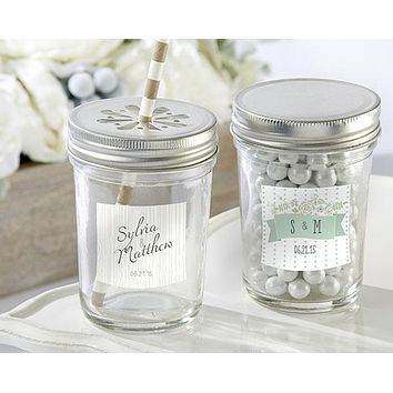 Personalized Glass Mason Jar - Kate's Rustic Wedding Collection (Set of 12)
