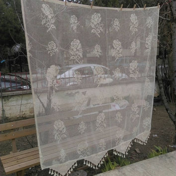 Shabby Chic Vintage Filet Lace Net Decorative curtain French Cafe Curtain, Filet Net Curtain Custom Order