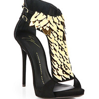 Giuseppe Zanotti Suede Sequin-Front Sandals