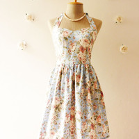 Blue Floral Party Dress Romantic Dress Party Tea Dress Vintage Inspired Cotton Summer Dress Once Upon a Time -Size XS, S, M, L, XL, CUSTOM