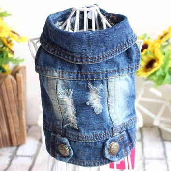 Trendy New 2017 Spring Autumn Pet Products Dog Clothes Pets Coats Cave Denim Puppy Dog Clothes for Dog XS-2XL Jeans Jacket Casual Style AT_94_13