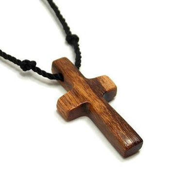 Simple Cross Necklace, Mens Cross Pendant, Tigerwood Cross Pendant, Wood Cross Necklace, Mens Jewelry Cross, Christian Cross, Gifts Under 20