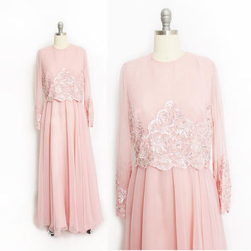 Vintage 1970s Dress - Jack Bryan Pink Chiffon Lace Beaded Embellished Gown Maxi - Medium