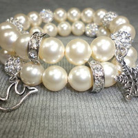 Crystal Pearl Winter Wonderland Beaded Stacking Bracelet Set With Snowflake and Peace Dove Charms