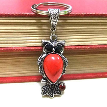 Red Owl Charm/Keyring with Rhinestones, Red Keyring, Owl Keychain, Owl Bag Charm, Owl Keyholder, Teachers Gift,Student Gift,Friend Gift,Owls