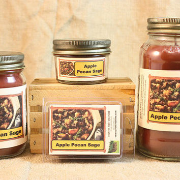 Apple Pecan Sage Scented Candle, Apple Pecan Sage Scented Wax Tarts, 26 oz, 12 oz, 4 oz Jar Candles or 3.5 Clam Shell Wax Melts