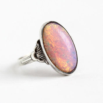 Vintage Silver Ring - Art Deco Sterling Silver Simulated Opal Statement - 1930s Size 8 1/4 Oval Colorful Glass Cabochon Signed Uncas Jewelry