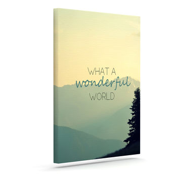 "Robin Dickinson ""What A Wonderful World"" Teal Tan Canvas Art"
