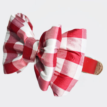 Red and White Plaid Dog Bow Tie Collar