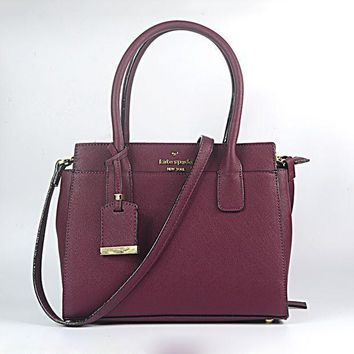 CREYV9O Kate Spade Popular Women Leather Crossbody Handbag Shoulder Bag Satchel Burgundy I