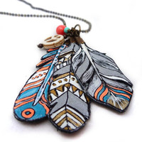 Bohemian painted leather feather necklace