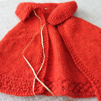 little red riding hood cape, all natural eco-friendly hand knit cape for 1 yr old girl toddler, waldorf play dress-up  (ready to ship)