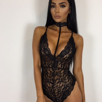 Slim Sexy Lace Women's Fashion One-piece [10016939021]
