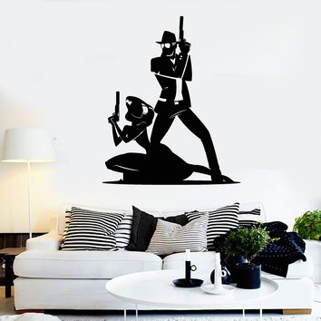 Vinyl Wall Decal Two Killer Gangsters Teen Room Stickers Mural Unique Gift (ig3746)