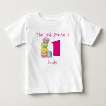 First Birthday Sweet Macarons Personalized Infant T-shirt