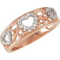 Sterling Silver & 14k Rose Gold 1/6 CTW Diamond Filigree Heart Ring