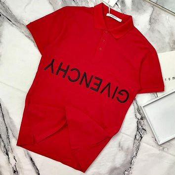 Givenchy 2019 new embroidered letter button POLO shirt half sleeve T-shirt Red