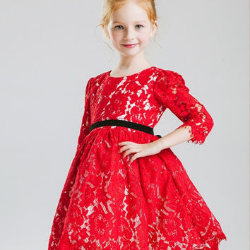 Children Prom Dress Lace Winter One Piece Dress [4920530436]