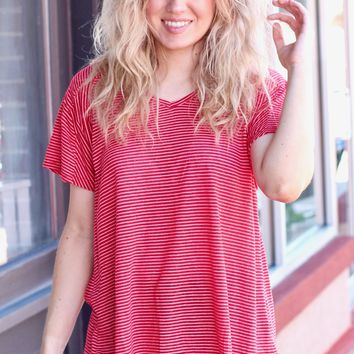 Red S/S V-neck Striped Top