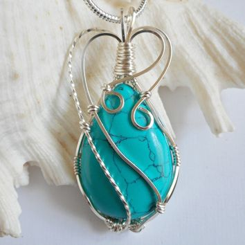 Wire Wrap Pendant, Howlite Turquoise, Necklace, Handmade Jewelry, elainesgems