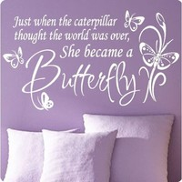 Large White Butterfly Caterpillar..Wall Decal Little Girls Room Nursery Decal Quote Vinyl Love Large Nice Sticker