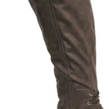 REALOVE25 TAUPE CORSET KNEE HIGH BOOT