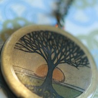 Locket necklace Tree of life Locket by Locketfox on Etsy