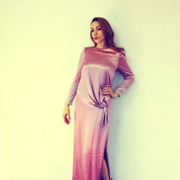 Vintage 70s Does 1920s Pink Morton Myles Grecian Sequin Beaded Maxi Dress Satin 30s 40s Style Flapper Gown Great Gatsby Romantic Size 9 10