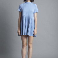 Blue High Neck Pleated Dress