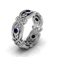 Silver Blue Sapphire Men's Celtic Engagement Wedding Anniversary and Promise Eternity Ring Band
