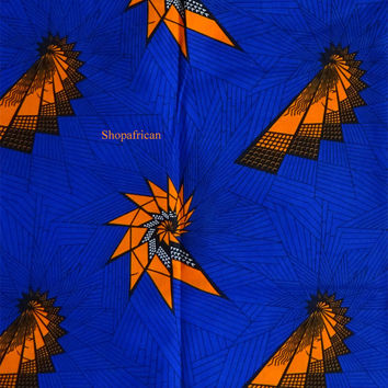 African print fabric  by the yard Ankara fabric Electric bulb ankara African fabric for dress skirt Blue African fabric Africa wax print