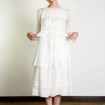 Antique Babydoll Dress . Edwardian Cotton Gown