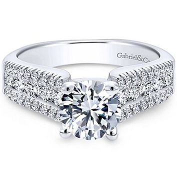 "Gabriel ""Channing"" Three Row Diamond Engagement Ring"
