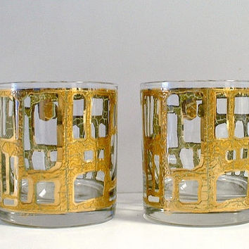 Gold Culver Glasses Set of 2 Rocks Glasses Low Ball Mid Century 1960's Bar Vintage
