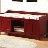 Linon Lakeville Red Storage Bench