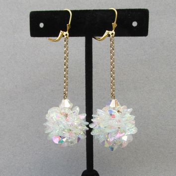 Christmas SNOW BALL AB Crystal Dangle Gold Plated Sterling Silver Vintage Pierced Party Earrings