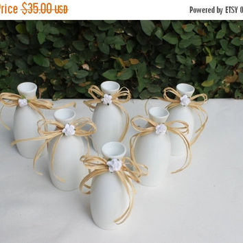 ON SALE Rustic Wedding White Bud Glass Vases Instant Collection wedding Decor Set of 6