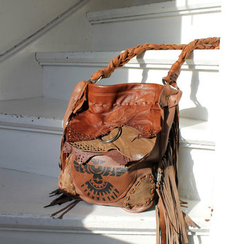 Fringed brown leather tribal aztec eagle bags collection navajo purse southwestern native indians motorcycle boho festival raw fringe bag