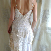 Dream Catcher Wedding Dress... Size Medium... gown eco friendly boho beach free people crochet lace tea stain recycled