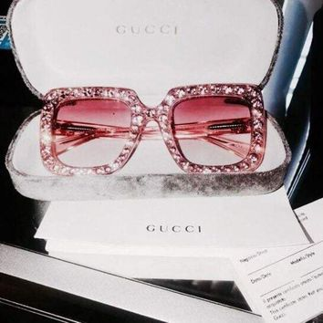 GUCCI personality square large framed diamond sunglasses fashion trend with sunglasses F/A
