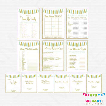 Mint and Gold Baby Shower Games bundle, games pack, baby shower games package, printable baby shower games signs, bingo, Download, TASMG