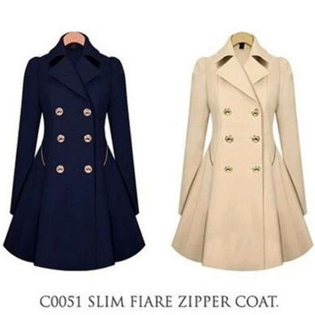 Fashion Womens Double-breasted Coat long Outwear Slim Fit Trench Jackets @CA002 = 1913360260